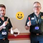 Ambulance crew with pops